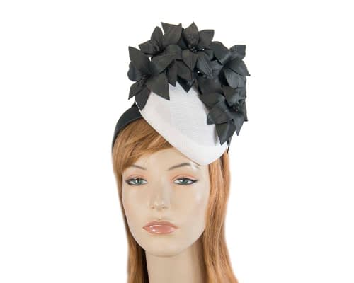 White & black leather flowers pillbox by Fillies Collection Fascinators.com.au S224 white black