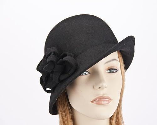 Black felt cloche hat with original trim J300B Fascinators.com.au J300 black