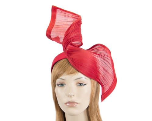 Red jinsin wave fascinator by Fillies Collection Fascinators.com.au S214 red