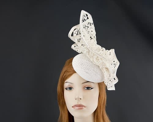 Ivory pillbox fascinator for races by Fillies Collection S166I Fascinators.com.au S166 white