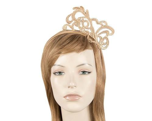 Gold lace crown fascinator Fascinators.com.au MA780 gold