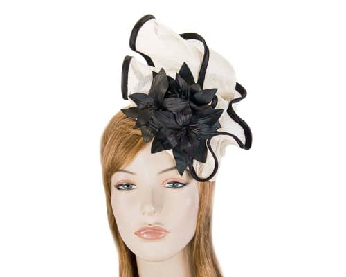 Cream & black fascinator with leather flowers by Fillies Collection Fascinators.com.au S221 cream black