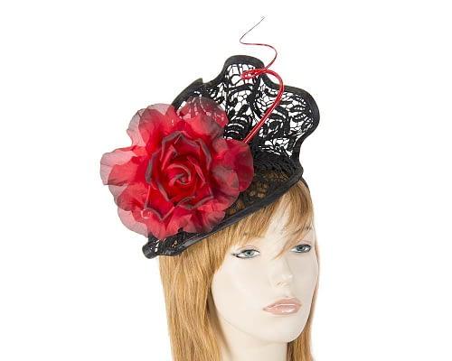 Black red lace fascinator S115BR Fascinators.com.au S115 black red