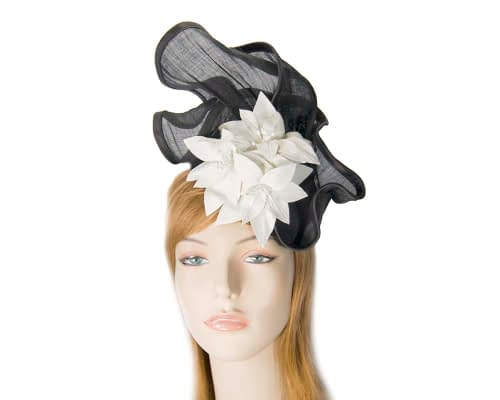 Black & cream fascinator with leather flowers by Fillies Collection Fascinators.com.au S221 black cream