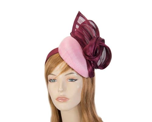 Pink & magenta pillbox with silk abaca bow Fascinators.com.au S220 dusty pink wine