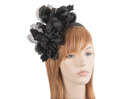 Large black flower headband fascinator by Fillies Collection Fascinators.com.au F653 black