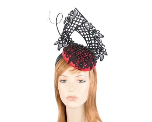 Red & black lace pillbox fascinator by Fillies Collection Fascinators.com.au S217 red black