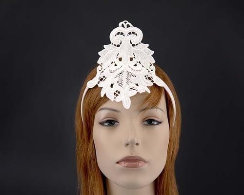 Small ivory crown lace fascinator for races MA670AI Fascinators.com.au MA670A ivory
