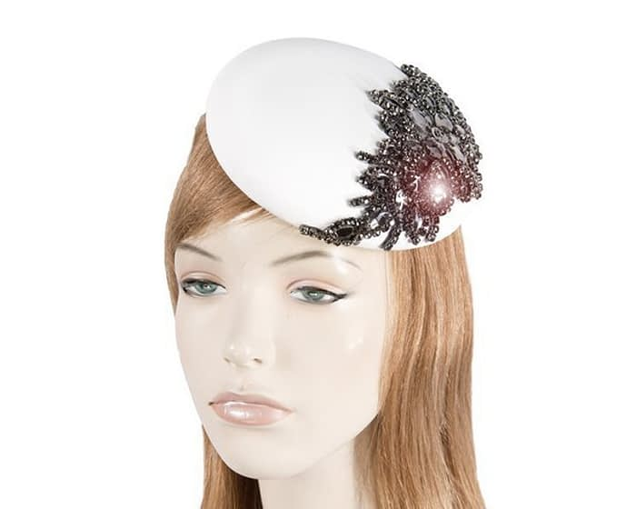 White leather pillbox fascinator with jewellery Fascinators.com.au