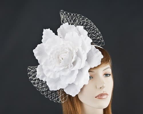 Large white flower fascinator for Melbourne Cup races by Max Alexander MA696W Fascinators.com.au