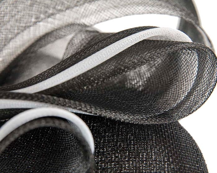 Black pillbox racing fascinator with white wavy trim by Fillies Collection Fascinators.com.au