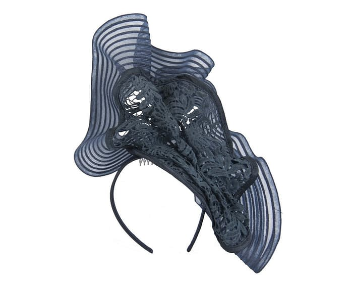 Tall navy lace fascinator by Fillies Collection Fascinators.com.au