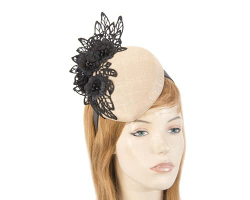 Nude & black lace pillbox fascinator Fascinators.com.au
