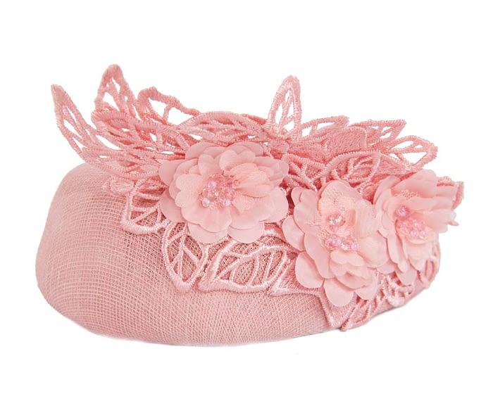 Pink lace pillbox fascinator Fascinators.com.au