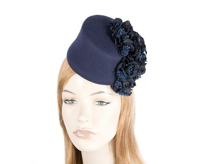 Navy felt fascinator with cascade of flowers Fascinators.com.au