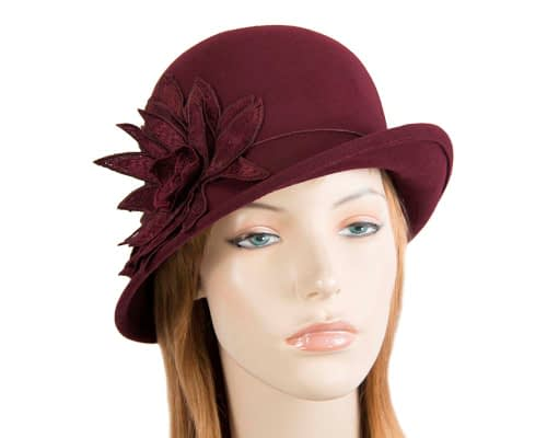 Burgundy winter felt cloche hat with lace flower by Max Alexander Fascinators.com.au