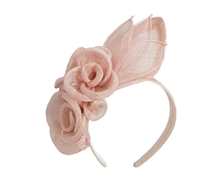 Blush sinamay flower headband fascinator by Max Alexander Fascinators.com.au