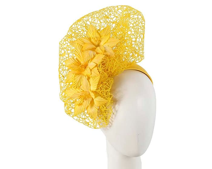 Yellow designers racing fascinator by Fillies Collection Fascinators.com.au