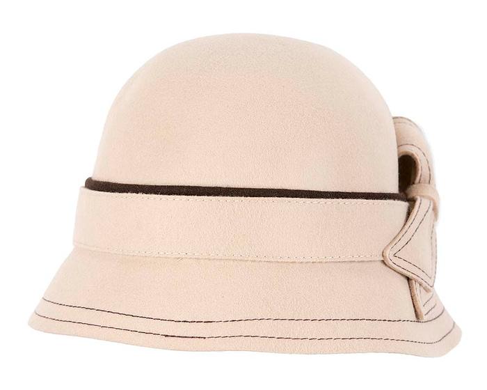 Cream felt bucket cloche hat Fascinators.com.au