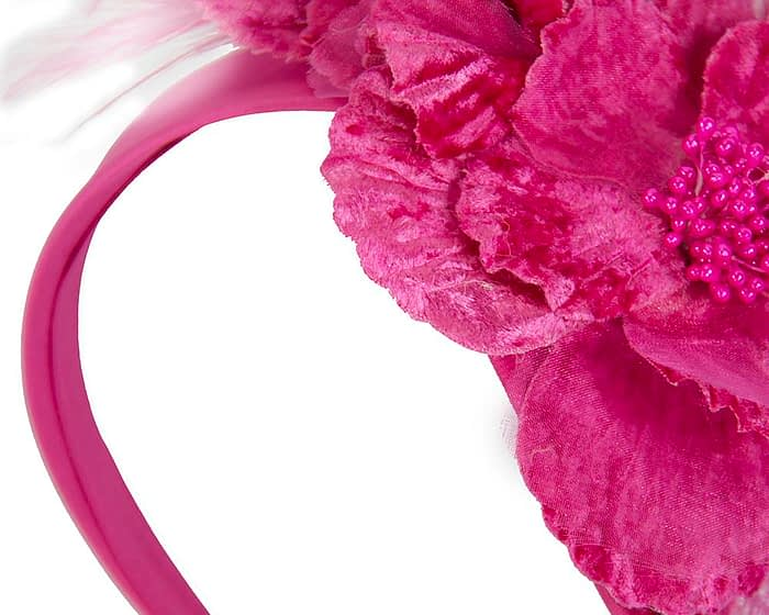 Fuchsia feather flower racing fascinator Fascinators.com.au
