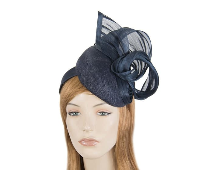 Navy pillbox with silk abaca bow Fascinators.com.au