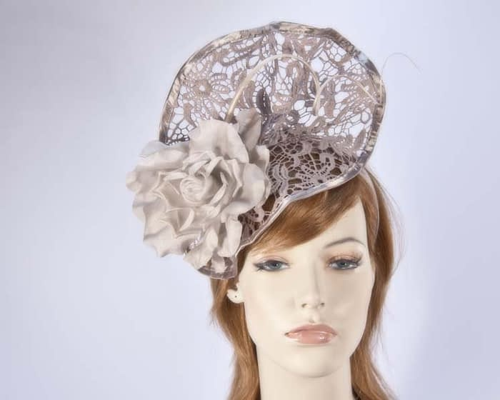 Tan lace fascinator S115T Fascinators.com.au