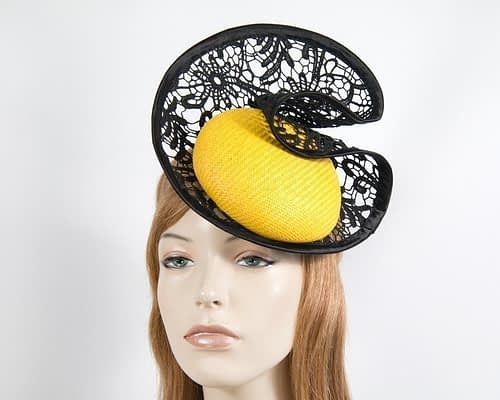 Yellow & black lace headpiece Fascinators.com.au