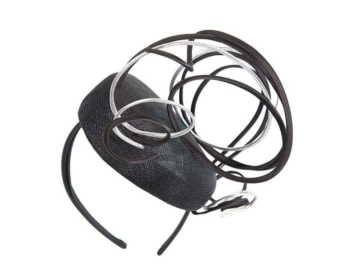 Bespoke Black & silver wire loops pillbox racing fascinator by Fillies Collection Fascinators.com.au