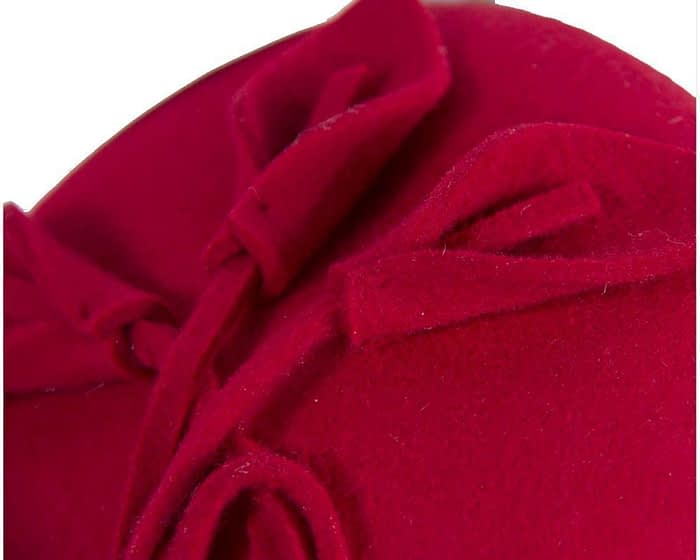 Small red felt winter pillbox Max Alexander J297R Fascinators.com.au