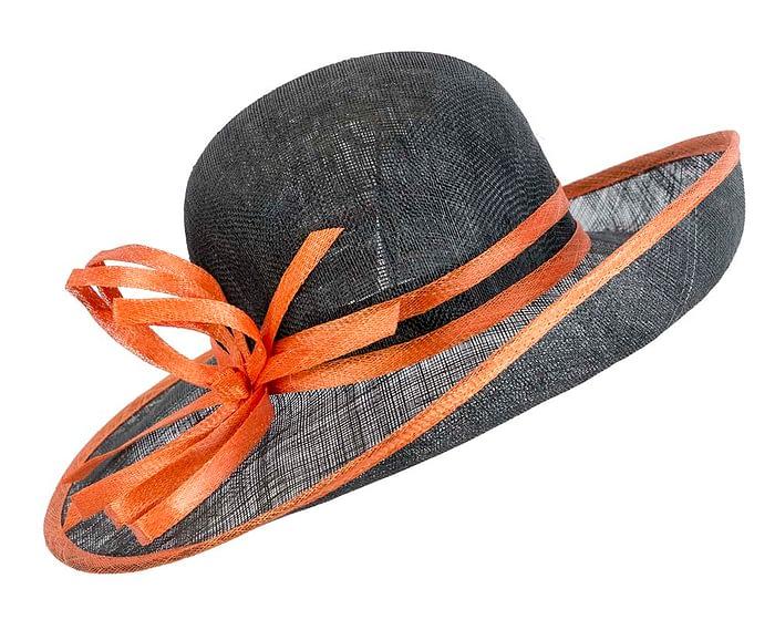 Wide brim black & orange racing hat by Max Alexander Fascinators.com.au