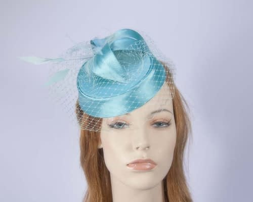 Aqua pillbox hat K4811A Fascinators.com.au