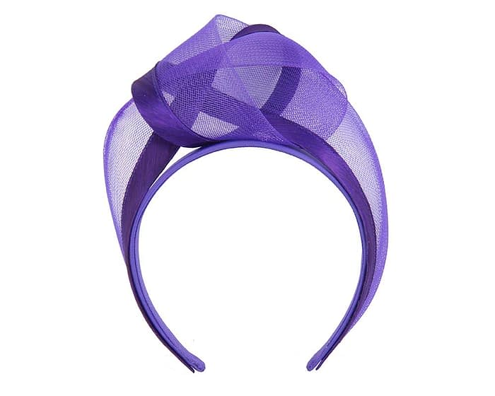 Purple turban headband by Fillies Collection Fascinators.com.au