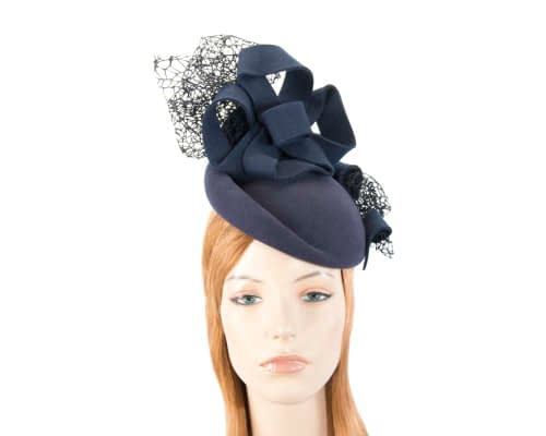 Bespoke navy felt winter racing fascinator Fascinators.com.au