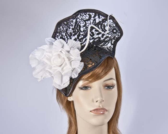 Black white lace fascinator S115BW Fascinators.com.au