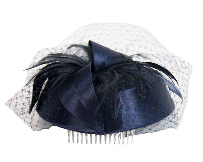 Navy custom made pillbox hat Fascinators.com.au