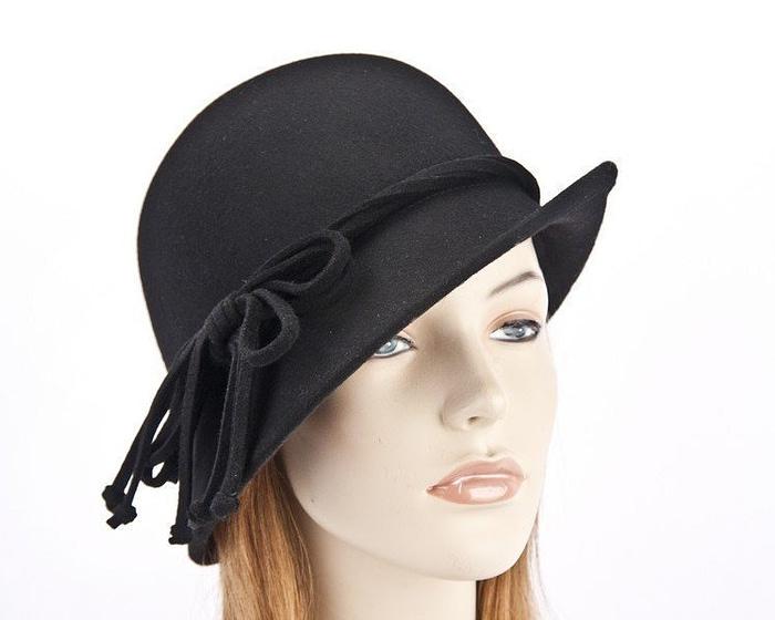 Black felt cloche hat by Max Alexander J310B Fascinators.com.au