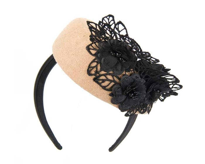 Beige & black lace winter pillbox fascinator Fascinators.com.au