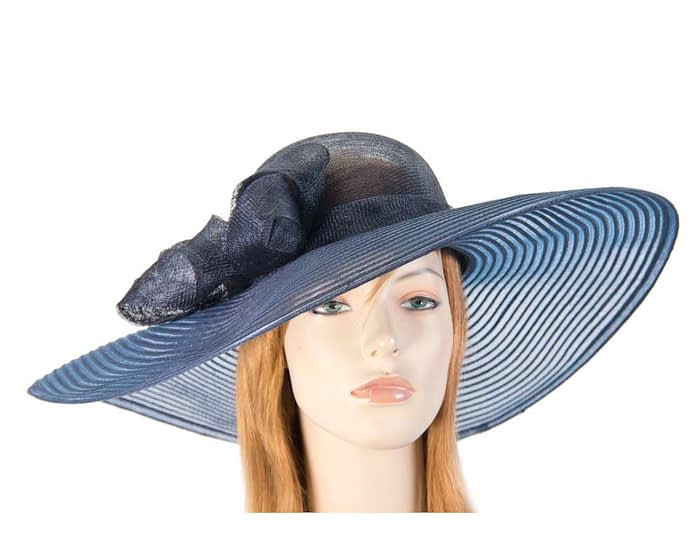 Wide brim navy fashion hat Fascinators.com.au