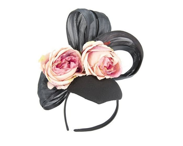 Bespoke black & pink felt racing fascinator Fascinators.com.au
