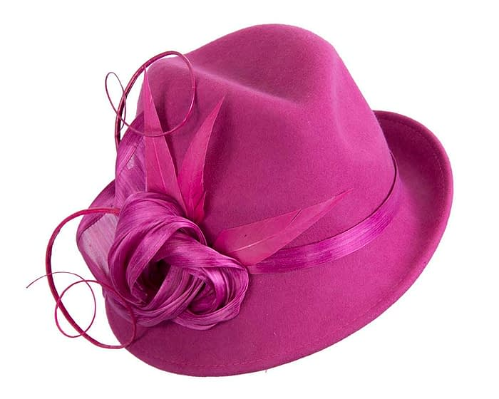 Fuchsia ladies felt trilby hat by Fillies Collection Fascinators.com.au
