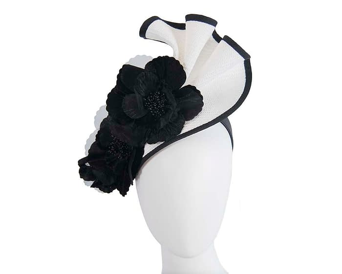 White & black Fillies Collection fascinator for Melbourne Cup races S162WB Fascinators.com.au