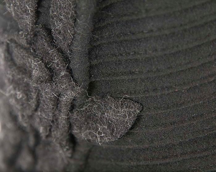 Soft black felt bucket hat Fascinators.com.au