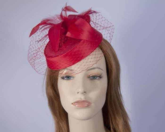 Red pillbox hat K4811R Fascinators.com.au