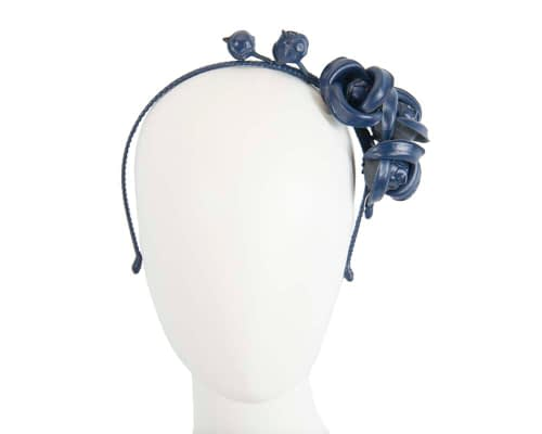 Navy leather flower headband fascinator Fascinators.com.au