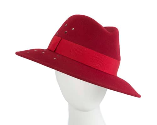Wide brim dark red felt fedora with studs by Max Alexander Fascinators.com.au J367 dark red