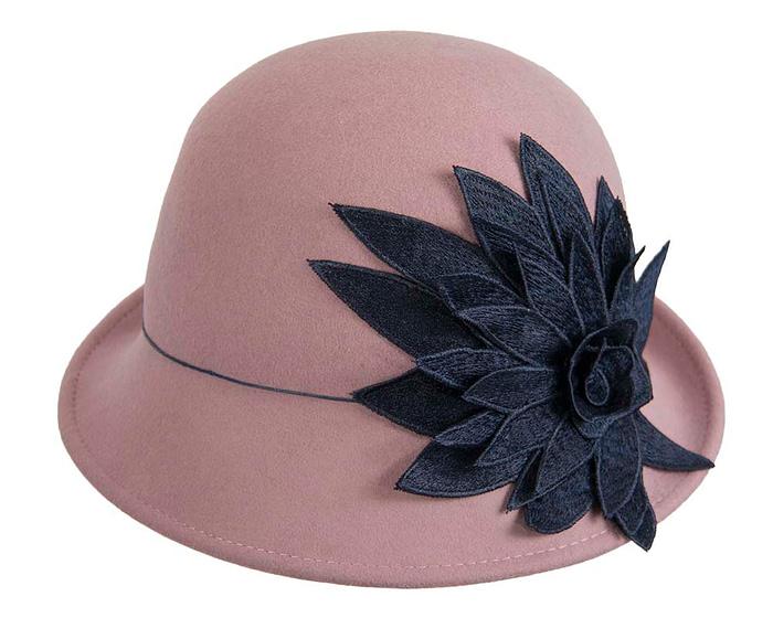 Dusty pink winter felt cloche hat with lace flower by Max Alexander Fascinators.com.au