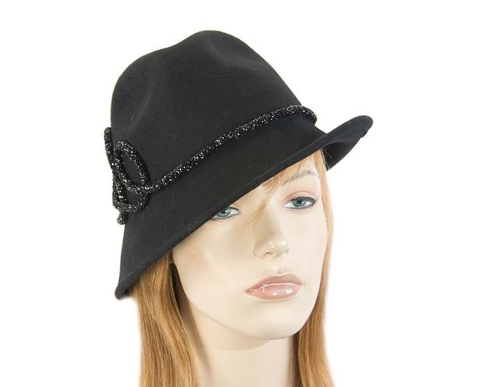 Black felt winter trilby fashion hat Fascinators.com.au