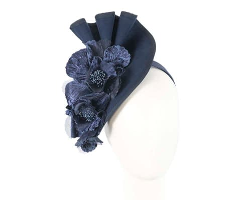 Navy Fillies Collection winter racing fascinator with flowers Fascinators.com.au