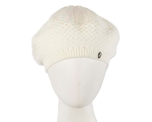 Classic warm crocheted ivory wool beret. Made in Europe Fascinators.com.au