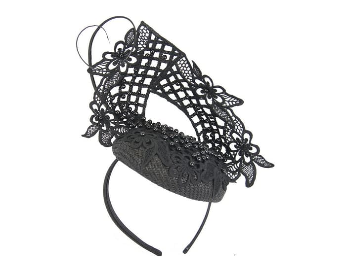 Black lace pillbox fascinator by Fillies Collection Fascinators.com.au